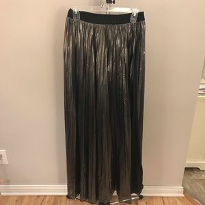 Women's Express Silver Pleated Maxi Skirt